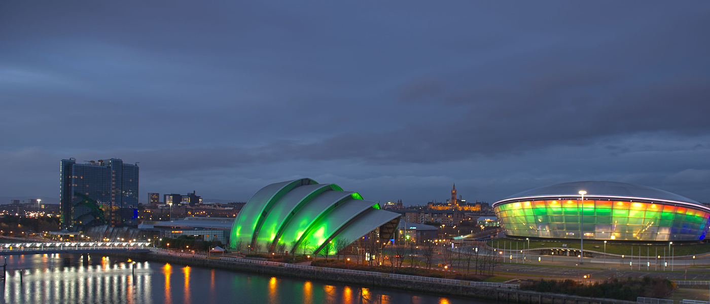 image of the Clyde at night, showing the Hydro
